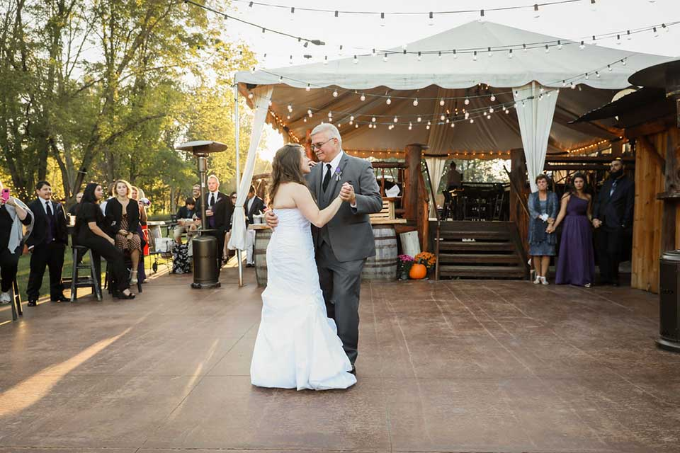 Bride dancing with father for first dance during wedding