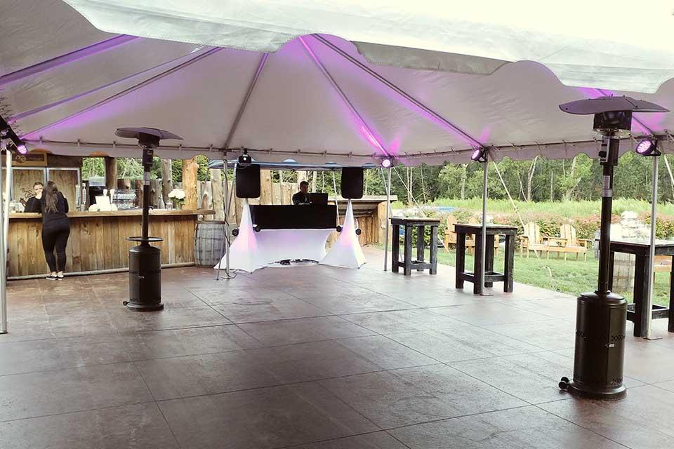 dance floor under tent