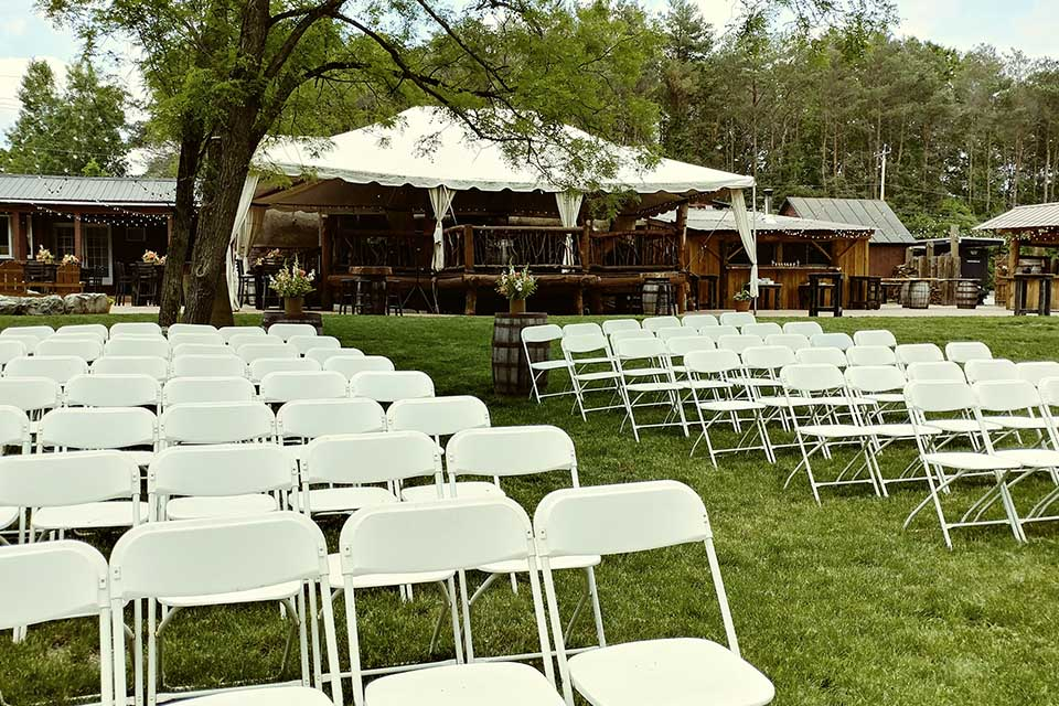 Empty chairs setup for wedding