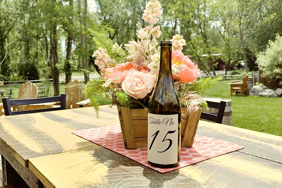 Table number on wine glass